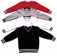 Wholesale 2014 New Europe Childre Boys Long Sleeve Stripe Sweaters Kids Boy V Collar Warth Pullover Tops Childs High Quality Knit Cotton ClothingH0491