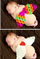 Unisex angel Cotton Angel Wing Baby Adorable Knitted Photography Props Lovely Infant Crochet Costume Toddler Photograph Clothing 2 color