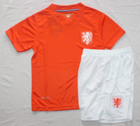 Wholesale 2014 Holland Home Youth Soccer Jerseys Hot World Cup Jersey Kids Orange Soccer Jersey And White Shorts Cheap New National Teams Jerseys Sale