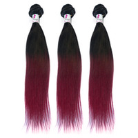 Wholesale Malaysian staight hair extension in Ombre burgundy red color A quality Brazilian Peruvian Indian Eurasian Cambodian