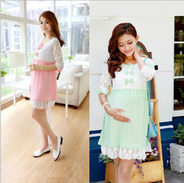 Wholesale Pregnant Women Lace Dress Spring Fashion Maternity Clothing Casual Maternity Dresses Skirt Long Sleeve Casual Dress New Arrival