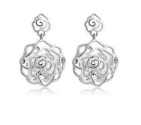 Wholesale 2014 Charms Classic Gold Pure Silver Plated Rose Flower Stud Earrings Fashion Earing Alloy Jewellery L671