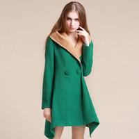 Wholesale European style woolen coat women new winter woolen coat solid color personality too big coat irregular