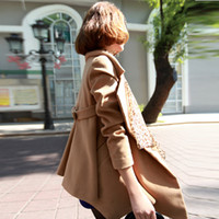 Wholesale 2013 autumn and winter women s new Korean fashion style woolen coat Slim was thin woolen coat and long sections