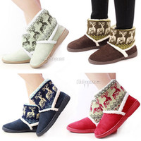 Wholesale New Women Autumn Winter Warm Deer Printing Thicken Fur Ankle Snow Boots Shoes ex53