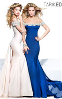 Reference Images Off-the-Shoulder Chiffon 2014 New Arrival Tarik Ediz Off Shoulder with Spaghetti Straps Evening Dress Sexy Beading Sequins Beads Chiffon Mermaid Prom Gown