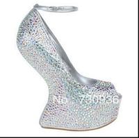 Wholesale 2014 new arrival women s pumps Rhinestone no heel creepy high heels brand name silver wedding shoes pus size