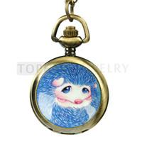 Wholesale Hedgehog Necklace Pocket Watch Retro Bronze Color LPW71