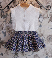 Wholesale 2014 Summer Children Girls Fashional Sleeveless T shirts Korean Kid s Graceful White Shirt Child Exquisite Lace Tops High Quality I0474