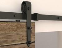 Steel door hardware - 6ft ft Arrow stylish Antique black wooden sliding barn door hardware Interior American sliding barn door track kit