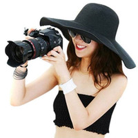 Wholesale Fashion Women s Ladies Foldable Wide Large Brim Floppy Summer Beach Hat Sun Straw Hat Cap Drop Shipping MOQ for