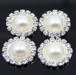 Wholesale Stock mm Round Metal Rhinestone Button With Pearl Center Wedding Embellishment DIY Accessory Factory Price
