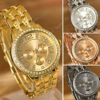 gold - Fashion Luxury Gold Crystal Quartz Rhinestone Date Lady Women Wrist Watch