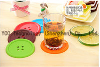 Wholesale 50Pcs Mug Coffee Cups Mats Water Cups Mats Creative Silicone Button Cups Mats Coasters Many Colors