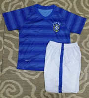 Wholesale Brasil Away Kids Kits Brazilian CBF World Cup Soccer Jerseys and Shorts with Logo Top Quality Customized Soccer Uniforms Football Shirt