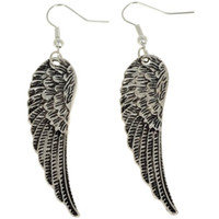 Wholesale Cheap Price Retro Vintage Angel Wings Silver Plated Dangle Charm Earrings D Hook Antique JE06110