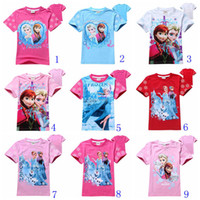 Wholesale 19 styles children T shirts frozen girls cotton shirts Elsa Anna printed cute baby girl t shirt summer kids tops child tees T