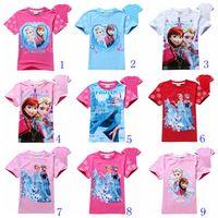 t-shirt printing - 19 styles children T shirts girls cotton shirts Elsa Anna printed cute baby girl t shirt summer kids tops child tees T