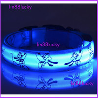 Collars led flashing dog collar - Factory supply CM double sided pluto pattern Pet Safety LED Dog Collar Night Flashing Glow Light led Nylon Collar S M L