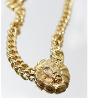 Europe and America lion head necklace - European Vintage Street Style Unique Lion Head Necklace Chunky Chain Necklace Made In China