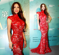 Reference Images High Neck Lace 2014 red lace celebrity dresses high collar cap sleeves sweep train mermaid Cheongsam formal evening prom gowns BO4689
