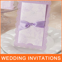 Wholesale Purple Lace Hollow Wedding Invitation Card with Bow Laser Cut Wedding Invitations HQ1002