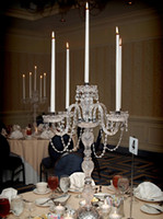 E14 big plate restaurant - 5 arms Multi functional crystal candelabra candle lamps Big table lamp Restaurant Wedding candelabrum table light diningroom candleholder