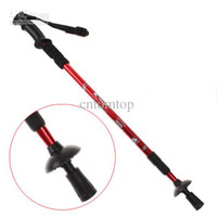 Wholesale Red Adjustable Telescopic AntiShock Trekking Hiking Walking Stick quot to quot with Compass H8307R