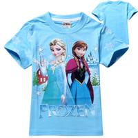 Girl Summer Standard frozen princess girl T-shirts girls cotton shirts Anna Elsa snow printed cute baby girl t shirt summer kids tops children tees 19 styles