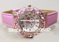 Wholesale New Fashion Big Diamond hello kitty watch lady girl kid leather quart watch child wristwatch for women gift