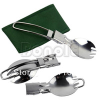 Wholesale New Cookout Picnic Hiking Outdoor Tableware Foldable Stainless Steel Camping Dual Purpose Spoon Fork