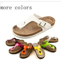 Wholesale Cork babouche birkenstock sandals flats flip flops men women lovers slipper shoes sandals colors
