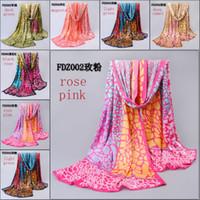 Wholesale satin scarf fashion women foulard shawls scarves beach towel imitated colourfui silk fabric scarves for sale cm FDZ002