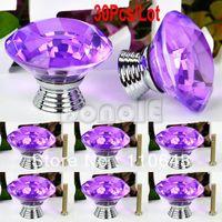 Ceramic Furniture Handle & Knob TK0982# 30pcs Lot Wholesale New 40mm Purple Crystal Glass Door Knob Drawer Cabinet Kitchen Handle Cupboard Wardrobe Pull Handle TK0982