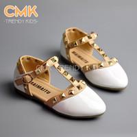 Girl Summer Patent Leather CMK-KS004 4 Colors 5pcs lot 2015 Summer Elegant Rivet Princess Patent Leather Kids Low-heeled Children Shoes Girls Wedge Sandals Free ship