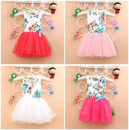 Wholesale Hot sale Children girl s summer sleeveless colorful flower lace dress Pastoral style WYF color sizes