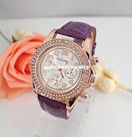 al por mayor reloj de las mujeres de cristal de múltiples-Al por mayor-Nueva llegada de múltiples colores de cuero de moda reloj, reloj de las mujeres Shinning Crystal Bling Bling Gogo012