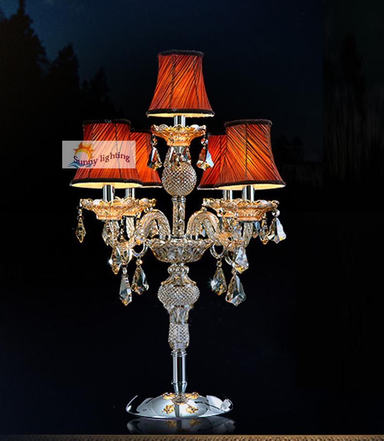 Large Crystal Table Lamp Restaurant Candelabra With Lampshade Led Desk Lamp  Reading Light Big Candle Holder Bedroom Hotel Table Light Table Lamp  Candelabra ...