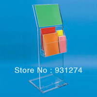 Wholesale Clear Acrylic Display Stand With Angled Sign Holder Plexiglass Stand with Brochure Holder acrylic Commecial display stand