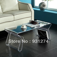 Wholesale Acrylic Coffee Table with Magazine Rack Acrylic End Table Plexi Tea Table with Magazine Holder Acrylic Furniture