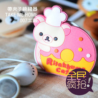 Wholesale free shinppingKorea cartoon earphone winder Samsung N7100 i9100 i9220 i9300 clip headphones wrapped thread