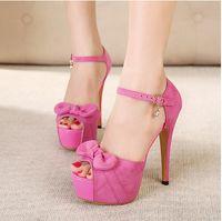 Women Pumps Stiletto Heel Brand New Korean sweet princess bowtie high heels sandals nightclub fashion platform peep toe stiletto heel cheap sandals