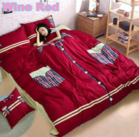 100% Cotton Woven Home 2014 New!!100%Cotton Reactive Printed Patch Embroidered Red Bed Bedding Sets Covers Queen King Size Bedspread Duvet Quilt Cover Bed Sheet