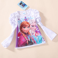 Wholesale 2014 new arrival autumn girls clothing brand frozen children long sleeve T shirt kids lovely white tops cotton tunic leisure tees
