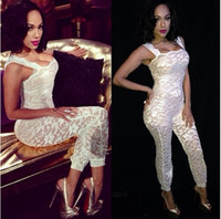 Wholesale 2014 New Fashion White Sexy Women s Bodycon Bodysuit Bodywear Jumpsuits Sleeveless Backless Lace Jumpsuit Party Club Wear B0025