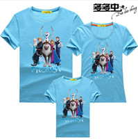 Wholesale 2014 hot sale frozen Characters short sleeve cotton family T shirt sets mom dad child clothing house shirts children kids baby suits
