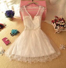 Wholesale 2014 Summer Bead Bridesmaid Dresses Lace up Simple A Line Short Evening Prom Party Gowns In Stock Colors