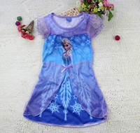 Wholesale FROZEN ELSA amp ANNA girl girls short sleeve nightie dress nightwear sleepwear pajamas