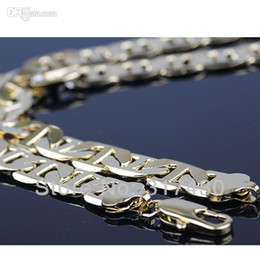 Wholesale - Heavy Mens necklace 18k Yellow Gold Filled mens chain necklace 50cm,9mm 40g fashion jewelry mens jewelry