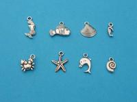 Traditional Charm handmade craft - 120Pcs Mixed Tibetan Silver Tone Mermaid Fish Shell Starfish Charm Pendant Jewelry Craft DIY Handmade Floating Charm